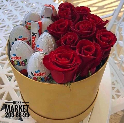 Розы и Kinder сладости в шляпной коробке #18203