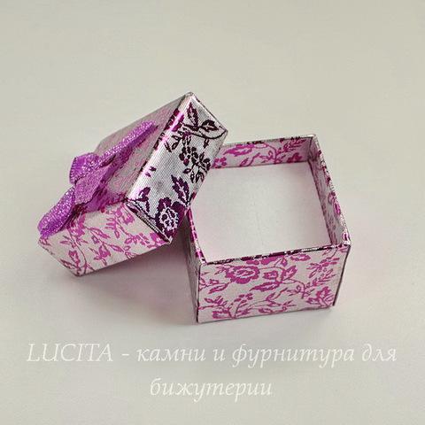 """Подарочная коробочка с бантиком """"Цветы"""" (цвет - фуксия), 40х40х30 мм"""
