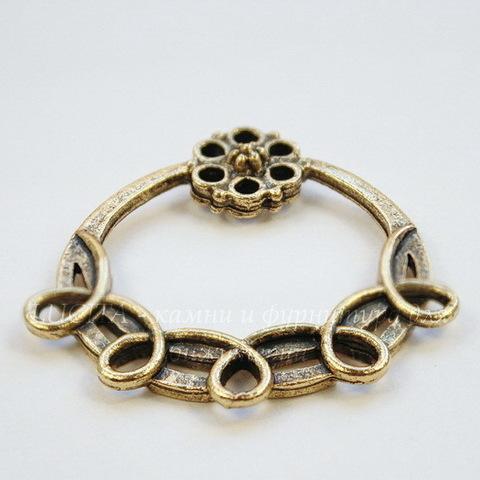 """Коннектор Quest Beads """"Цветочный вираж"""" 33х31 мм (цвет-античное золото)"""