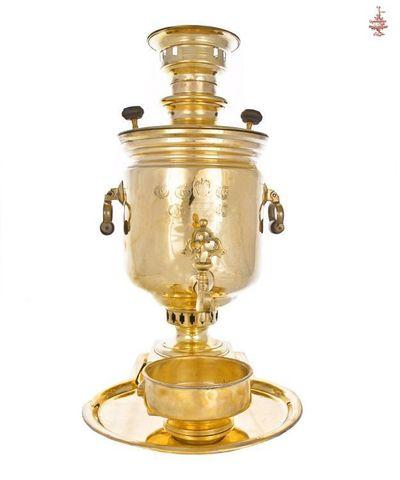 Самовар антикварный Баташев банкой 5л медальный латунь угольный в наборе