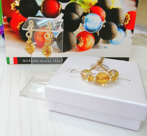 Комплект из браслета и серег со стразами Sandra Ca'D'oro Gold Topaz 008O