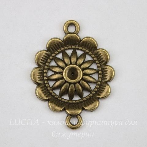 """Коннектор """"Цветок"""" (1-1) 29х22 мм (цвет - античная бронза)"""