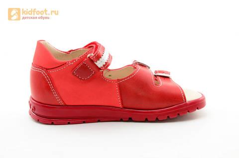 Босоножки Тотто из натуральной кожи с открытым носом для девочек, цвет Красный, 1082B. Изображение 4 из 16.
