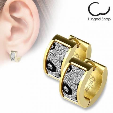 Оригинальные красивые стильные серьги кольцами женские с позолотой с алмазным блеском из ювелирной стали 316L SPIKES SEZ-14