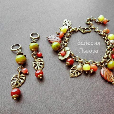 Бусина Жадеит (тониров), шарик, цвет - оливковый, 10 мм, нить (пример. Украшения из натуральных камней)