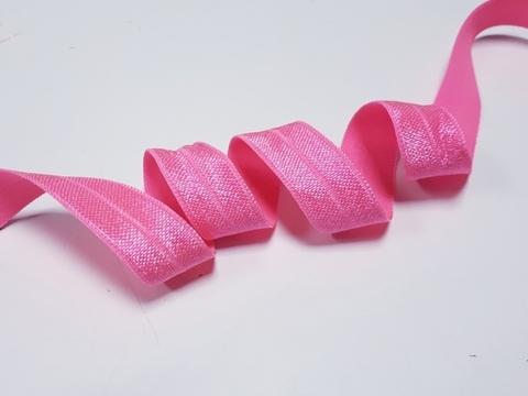 Эластичная бейка (косая бейка) с блеском, 15 мм, ярко-розовый