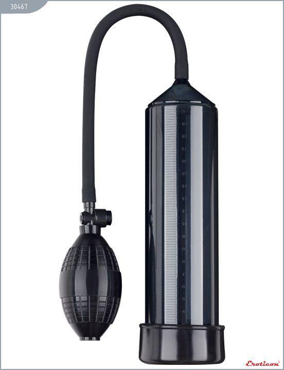 Вакуумные помпы: Чёрная вакуумная помпа Eroticon PUMP X1 с грушей