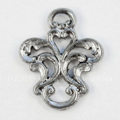 "Коннектор Quest Beads ""Флора"" 16х13 мм (цвет-античное серебро)"