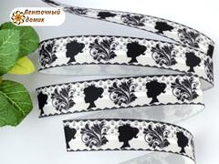 Лента репсовая Ученица с завитками на белом 22 мм