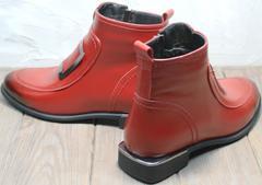 Красные кожаные ботинки демисезонные женские Evromoda 1481547 S.A.-Red