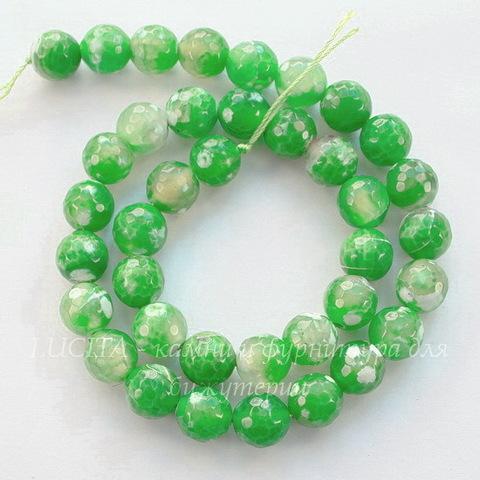 """Бусина Агат """"Крэкл"""" (тониров), шарик с огранкой, цвет - лаймовый с белым, 10 мм, нить"""