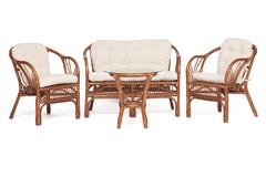 Комплект Нью Богота (NEW BOGOTA) ( диван + 2 кресла + стол со стеклом ) — coco brown (коричневый кокос)