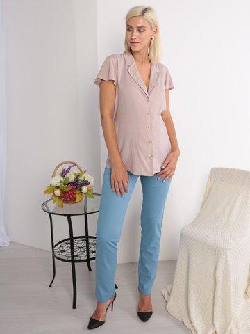 Евромама. Брюки летние для беременных, голубой