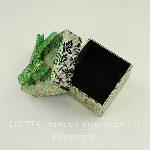 "Подарочная коробочка с бантиком ""Цветы"" (цвет - зеленый), 40х40х30 мм"