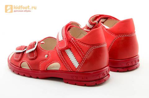 Босоножки Тотто из натуральной кожи с открытым носом для девочек, цвет Красный, 1082B. Изображение 7 из 16.