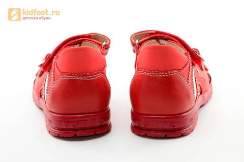 Босоножки Тотто из натуральной кожи с открытым носом для девочек, цвет Красный, 1082B. Изображение 8 из 16.