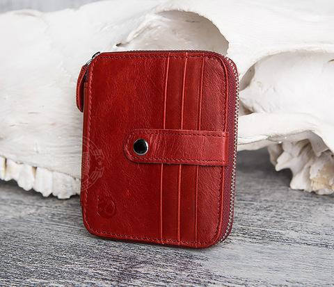 Красный кошелек из натуральной кожи на молнии