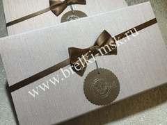 Подарочная коробочка из органзы с атласным бантиком на магните. Цвет Бежевый. Размер 25,5х12,5х4 см.