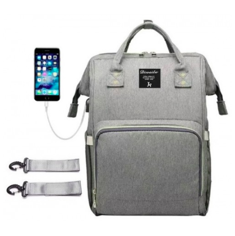 Mommy Bag. Сумка-рюкзак для мамы, серый