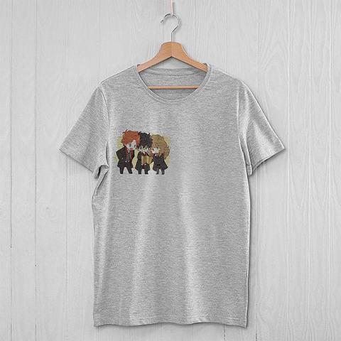 Серая футболка с Гарри, Роном и Гермионой