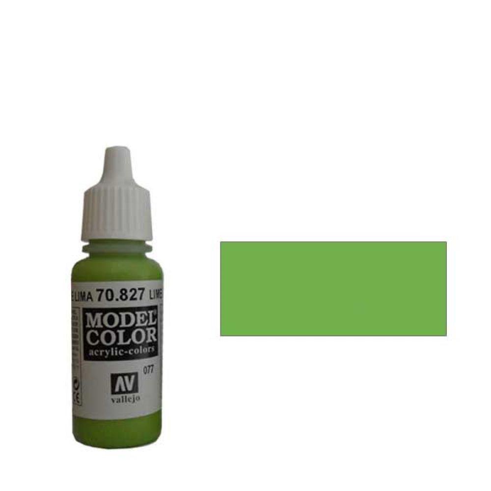 077. Краска Model Color Зеленый Лимон 827 (Lime Green) укрывистый, 17мл