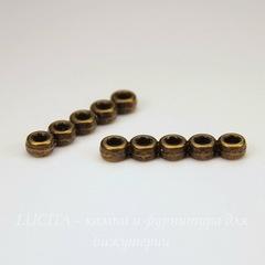 Разделитель на 5 нитей 22х3 мм (цвет - античная бронза) ПАРА