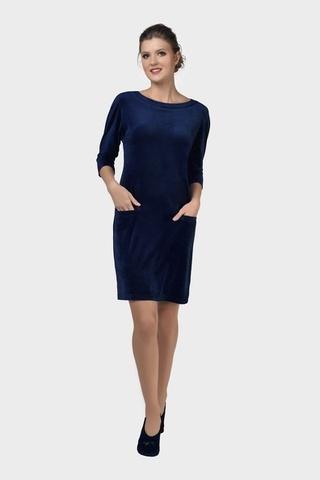 Синее велюровое платье Nicclub Petra 1803  синий