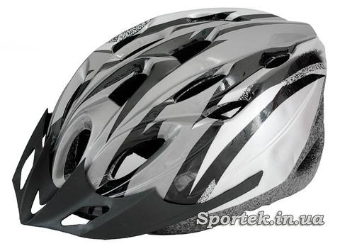 Общий вид крос-кантрийного велошлема серо-белого цвета