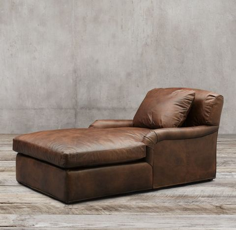 Belgian Classic Roll Arm Leather Chaise