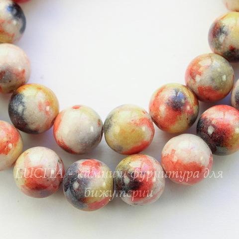 Бусина Жадеит (тониров), шарик, цвет - красный+желтый+серый, 10 мм, нить