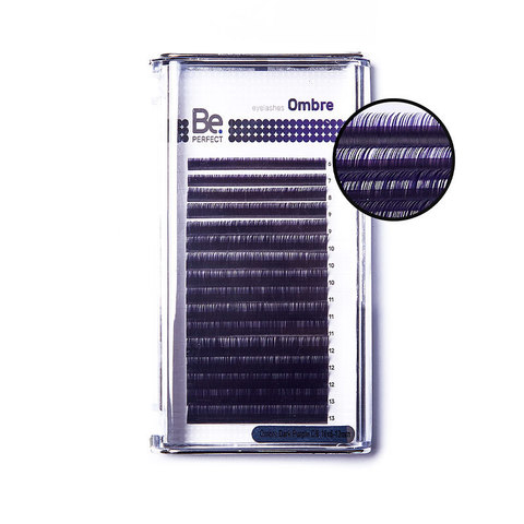 Цветные ресницы Be Perfect Ombre Dark Purple MIX (16 линий)