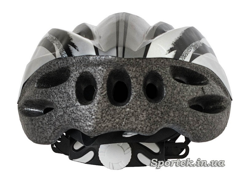 Вид сзади крос-кантрийного велошлема серо-белого цвета