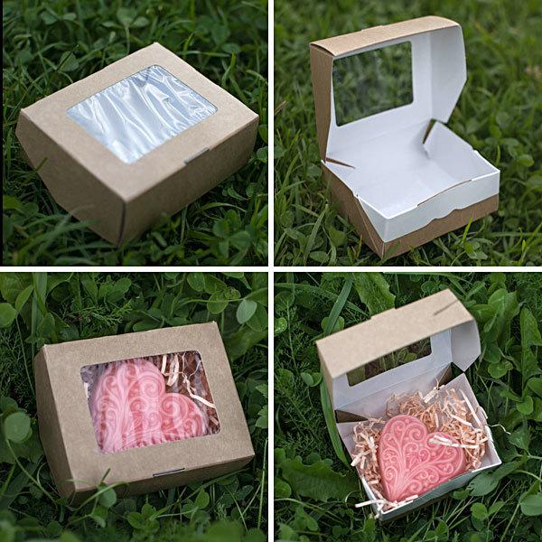 Коробка на один кусок мыла с окошком
