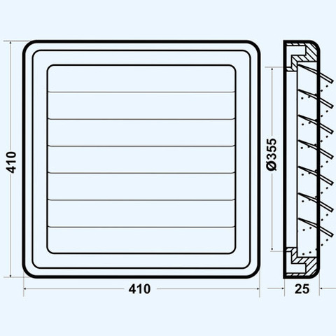Решетка вытяжная с гравитационными жалюзи (410х410, D355) серая Эра 4141К35,5Ф
