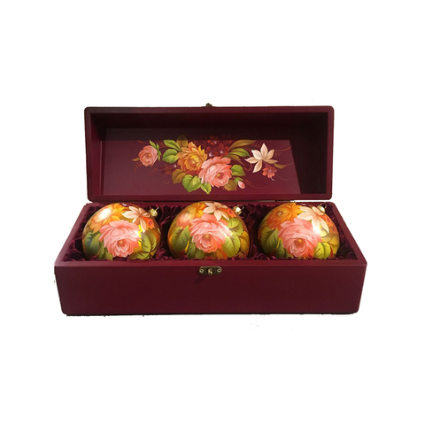Zhostovo Christmas balls in wooden box - set of 3 balls SET04D-667785848