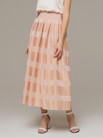 Женская юбка миди персикового цвета - фото 3