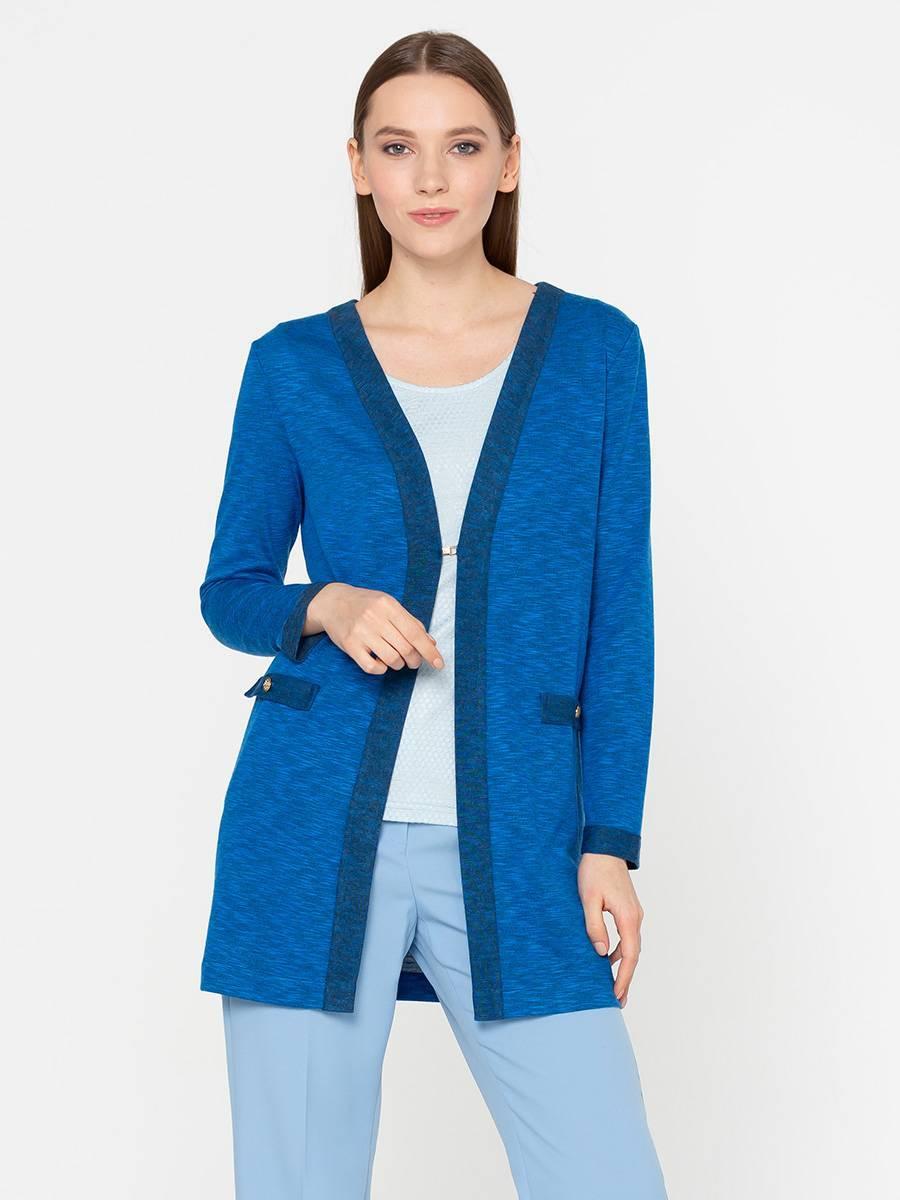 Жакет Д507-446 - Жакет однотонного василькового цвета с контрастной темно-синей отделкой.Трикотажный жакет свободной, прямой формы с длинным рукавом – незаменимая вещь для холодного времени года. Застежка на один крючок чуть ниже груди. Благодаря акрилу в составе, ткань не закатывается и не деформируется после стирки.В комбинации с другими вариантами одежды вы можете выглядеть по-деловому строго в офисе или непринужденно и раслабленно на встрече с подругами.