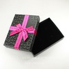 Подарочная коробочка прямоугольная с розовым бантиком (цвет - черный), 150х110х30 мм