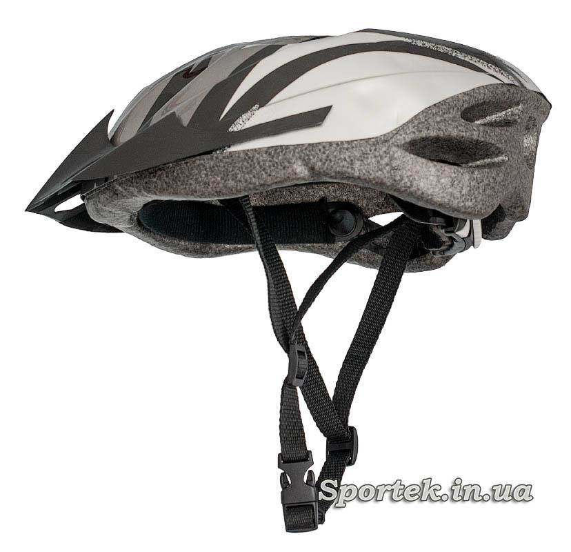 Общий вид с лямками крос-кантрийного велошлема серо-белого цвета