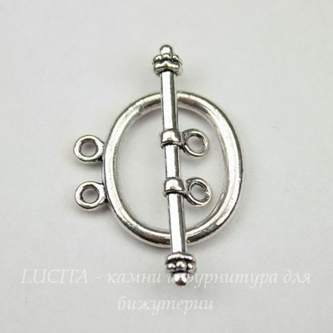 Замок - тоггл из 2х частей на 2 нити  (цвет - античное серебро) 21х20 мм, 33 мм