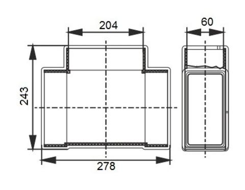 Тройник Т-образный 204х60 мм пластиковый