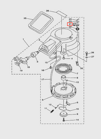 Фиксатор пружины стопора включения п/п  для лодочного мотора T15, OTH 9,9 SEA-PRO (7-21)