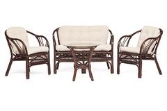 Комплект  Нью Богота (NEW BOGOTA) ( диван + 2 кресла + стол со стеклом ) — walnut (грецкий орех)