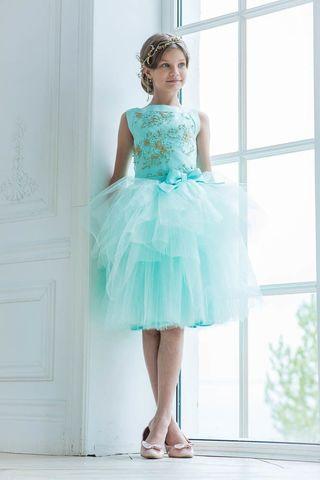 Пышное платье мятного цвета (арт.304 мят/зол)