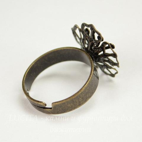 Основа для кольца с двойным филигранным цветком 17 мм (цвет - античная бронза)