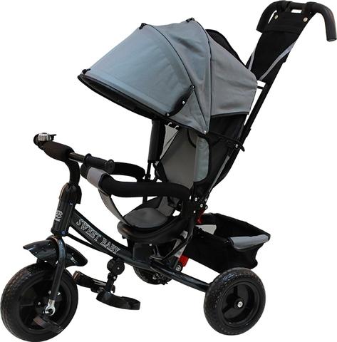 Детский трёхколёсный велосипед с ручкой (серый) Sweet baby - колёса EVA