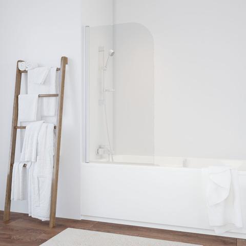 Душевая шторка на ванную Vegas Glass EV профиль белый, стекло прозрачное