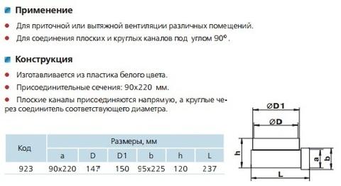 923 Соединитель угловой 220х90/150мм