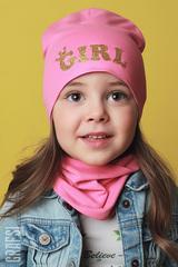 073К Шапка двухслойная GIRL. Розовая.