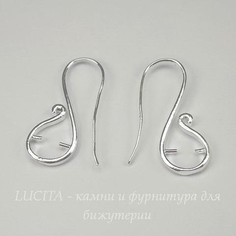 Швензы - крючки с держателем для бусины 34х16 мм (цвет - светлое серебро)
